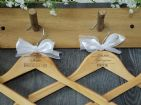Personalised Wooden Bridal Wedding Hangers Set of 8 with Bow (D2)